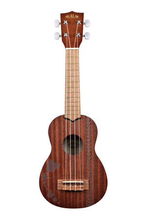 KALA Ukuleles SATIN MAHOGANY SOPRANO W/ HAWAIIAN ISLANDS & TATTOO