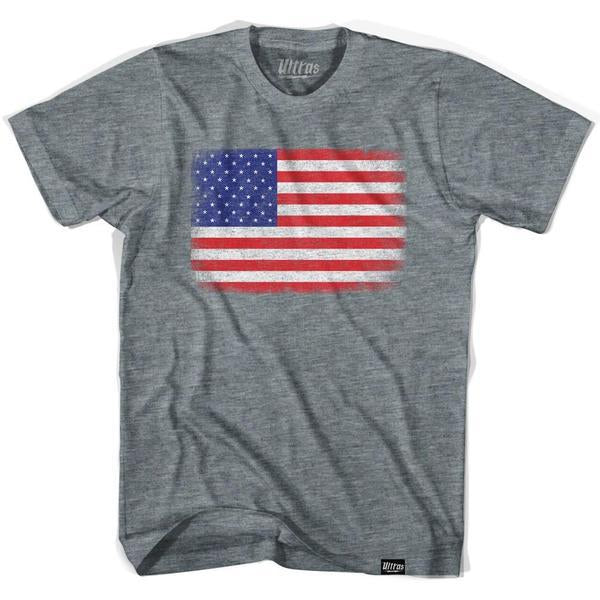 USA American Flag Vintage T-shirt in Athletic Grey by Ultras