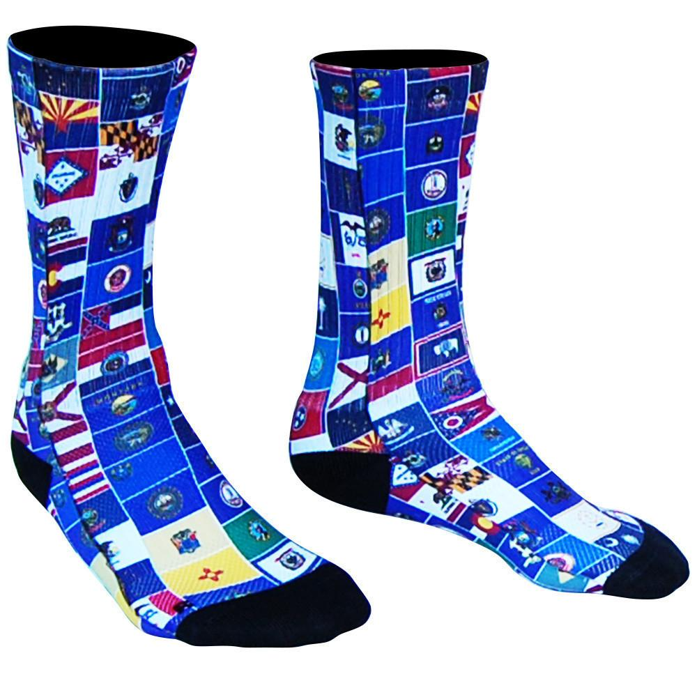 American State Flag Athletic Crew Socks in Red White Blue by Mile End Sportswear