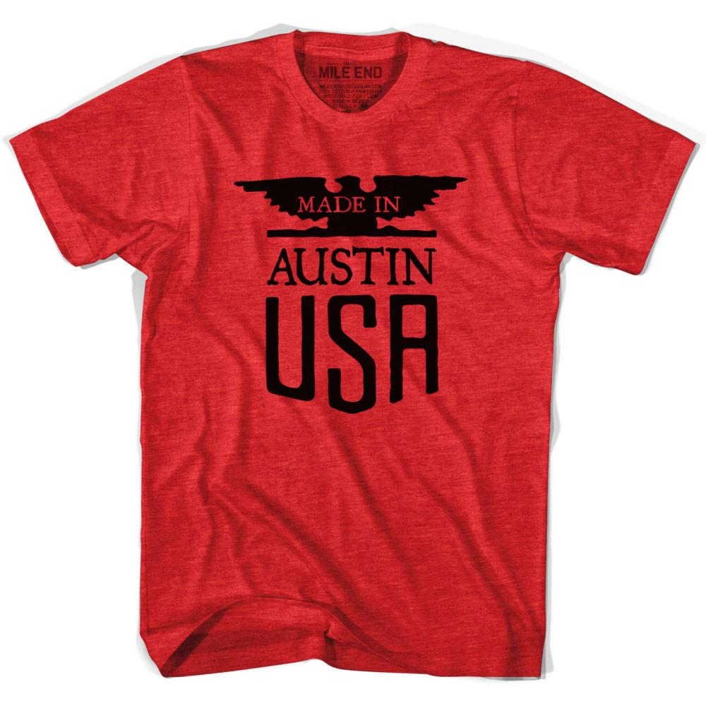 Made In USA Austin Vintage Eagle T-shirt in Heather Red by Mile End Sportswear