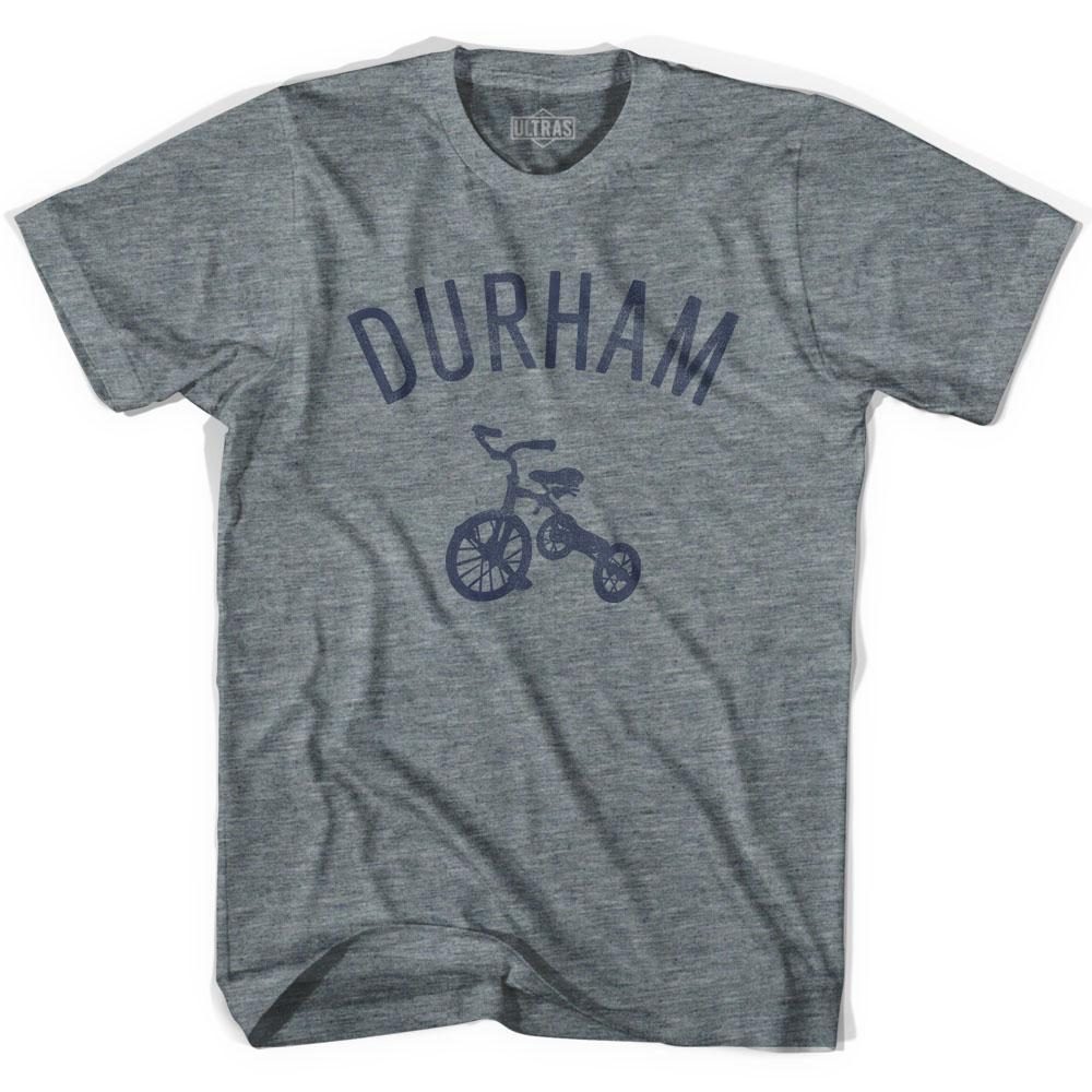 Durham City Tricycle Adult Tri-Blend V-neck Womens T-shirt by Ultras