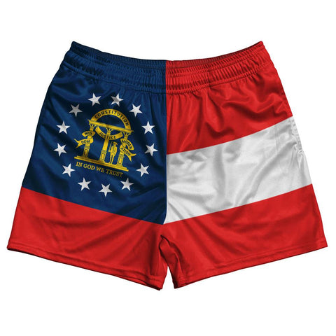 Georgia State Flag Rugby Shorts Made In USA