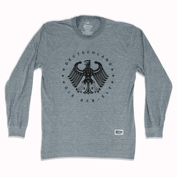 Germany Deutschland Eagle Long Sleeve T-shirt in Athletic Grey by Ultras