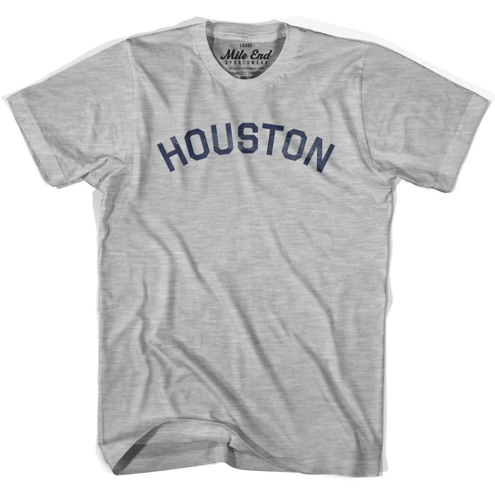 Houston City Vintage T-shirt in Grey Heather by Mile End Sportswear