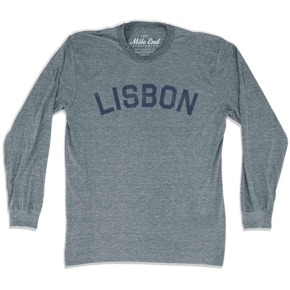 Lisbon City Vintage Long Sleeve T-Shirt in Athletic Grey by Mile End Sportswear