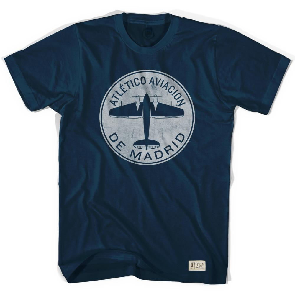 Atletico Madrid Plane Soccer T-shirt in Navy by Ultras