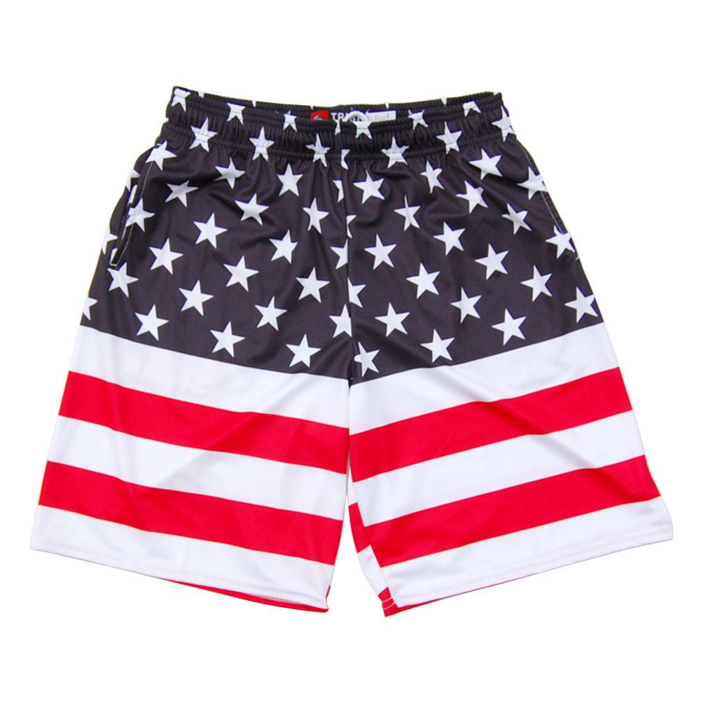 American Flag 50/50 Lacrosse Shorts in Navy & Red by Tribe Lacrosse