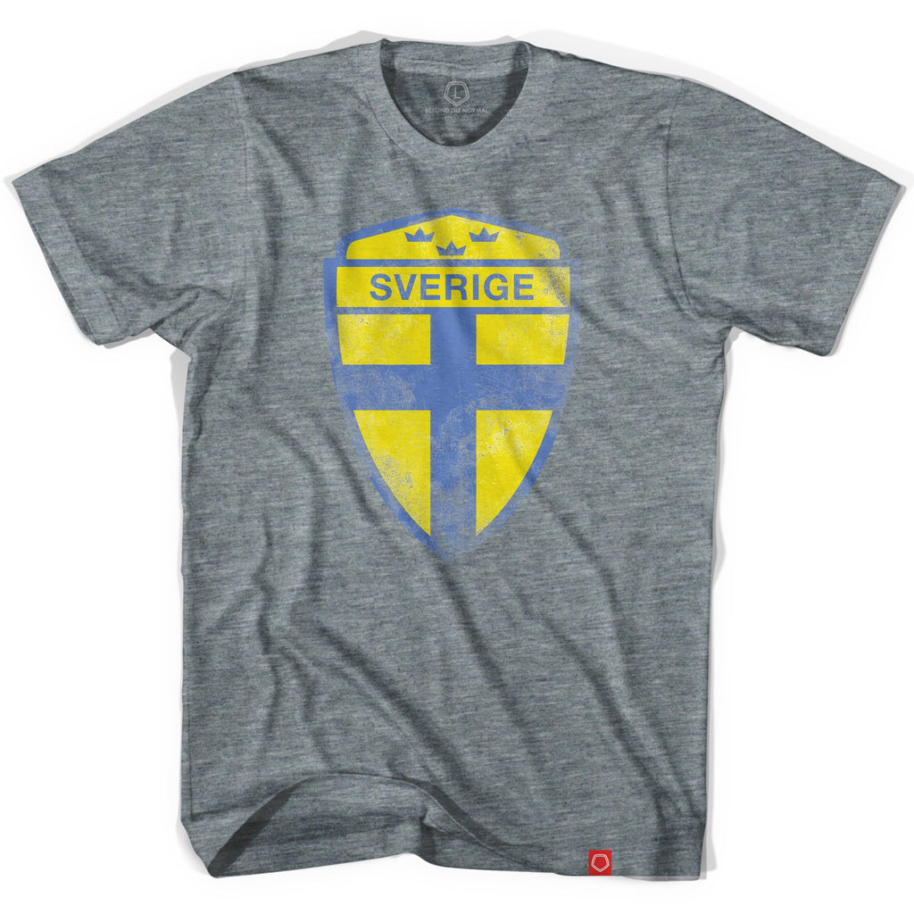 Sweden Sverige Crest Soccer T-shirt in Athletic Grey by Ultras