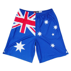 Australia Flag Sublimated Lacrosse Shorts in Royal by Tribe Lacrosse
