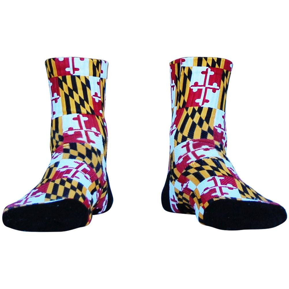 Maryland Flag Half Crew Athletic Socks in Red by Mile End Sportswear