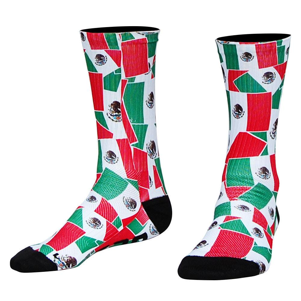 Mexico Flag Party Athletic Crew Socks in Red Green White by Mile End Sportswear