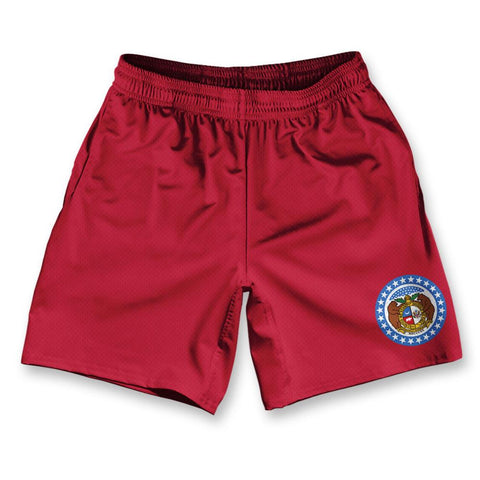 "Missouri State Flag Athletic Running Fitness Exercise Shorts 7"" Inseam"