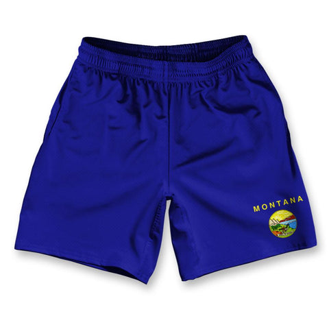 "Montana State Flag Athletic Running Fitness Exercise Shorts 7"" Inseam"
