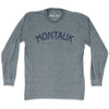 Montauk City Vintage Long Sleeve T-Shirt in Athletic Grey by Mile End Sportswear