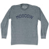 Moscow City Vintage Long Sleeve T-Shirt in Athletic Grey by Mile End Sportswear