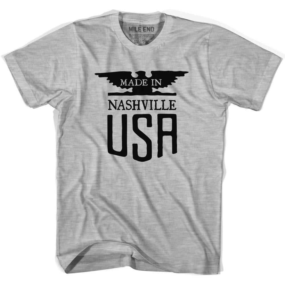 Made In USA Nashville Vintage Eagle T-shirt in Grey Heather by Mile End Sportswear