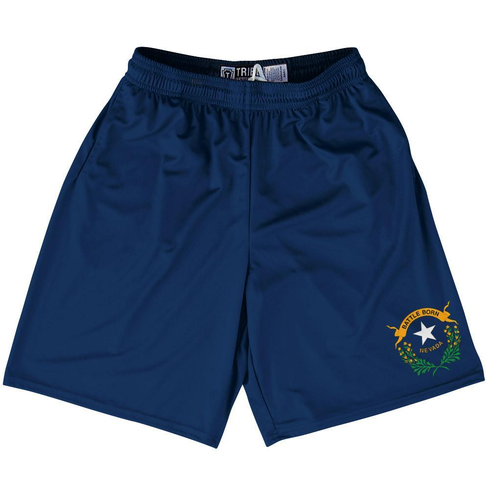 "Nevada State Flag 9"" Inseam Lacrosse Shorts by Tribe Lacrosse"
