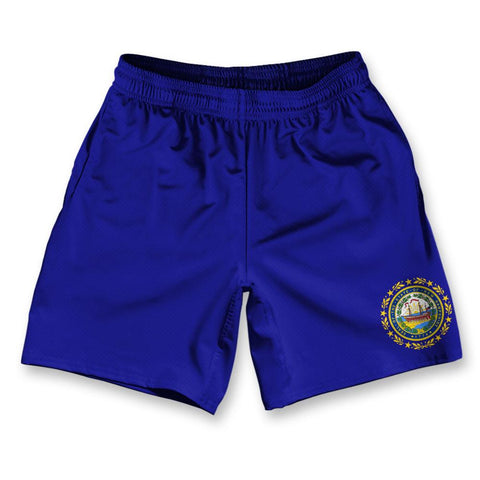 "New Hampshire State Flag Athletic Running Fitness Exercise Shorts 7"" Inseam"