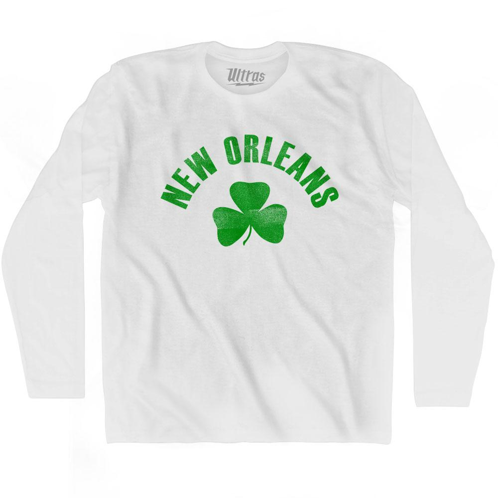 New Orleans City Shamrock Cotton Long Sleeve T-shirt by Ultras