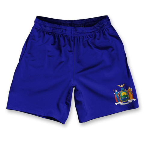 "New York State Flag Athletic Running Fitness Exercise Shorts 7"" Inseam"