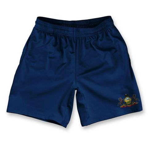 "Pennsylvania State Flag Athletic Running Fitness Exercise Shorts 7"" Inseam"