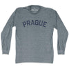 Prague City Vintage Long Sleeve T-Shirt in Athletic Grey by Mile End Sportswear