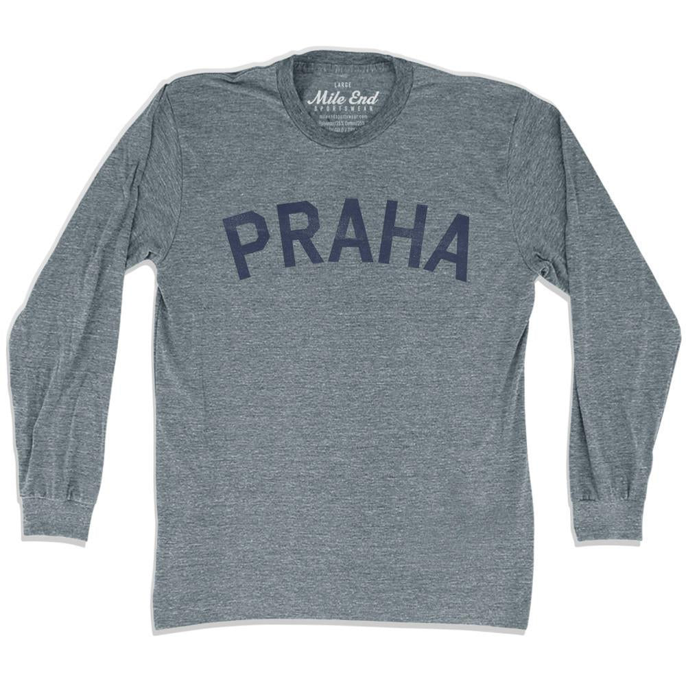 Praha City Vintage Long Sleeve T-Shirt in Athletic Grey by Mile End Sportswear