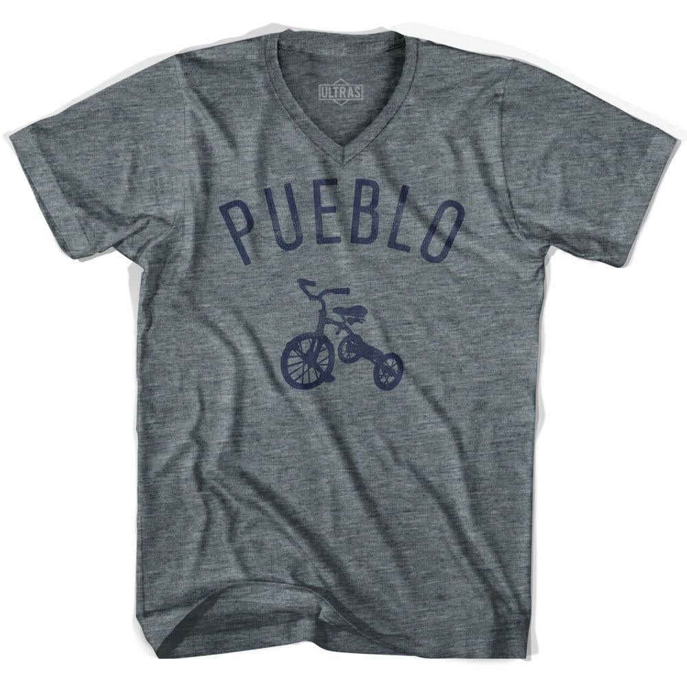 Pueblo City Tricycle Adult Tri-Blend V-neck T-shirt by Ultras