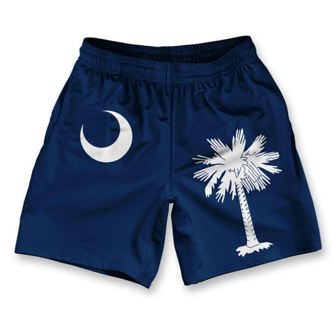 "South Carolina State Flag Athletic Running Fitness Exercise Shorts 7"" Inseam"