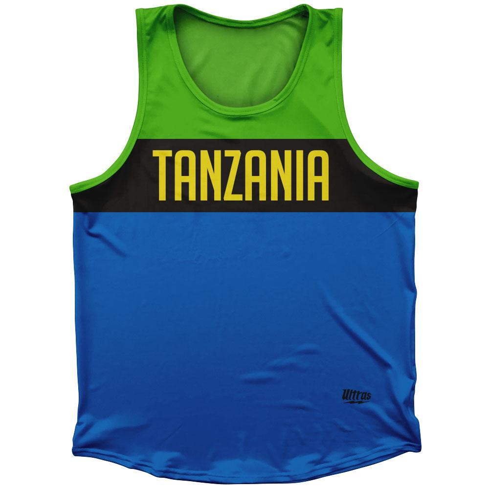 Tanzania Country Finish Line Athletic Sport Tank Top Made In USA by Ultras