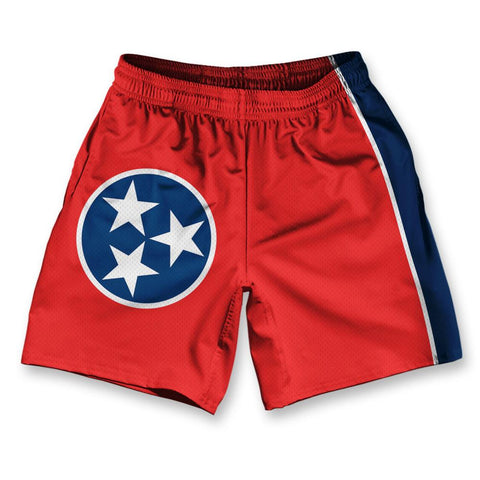 "Tennessee State Flag Athletic Running Fitness Exercise Shorts 7"" Inseam"