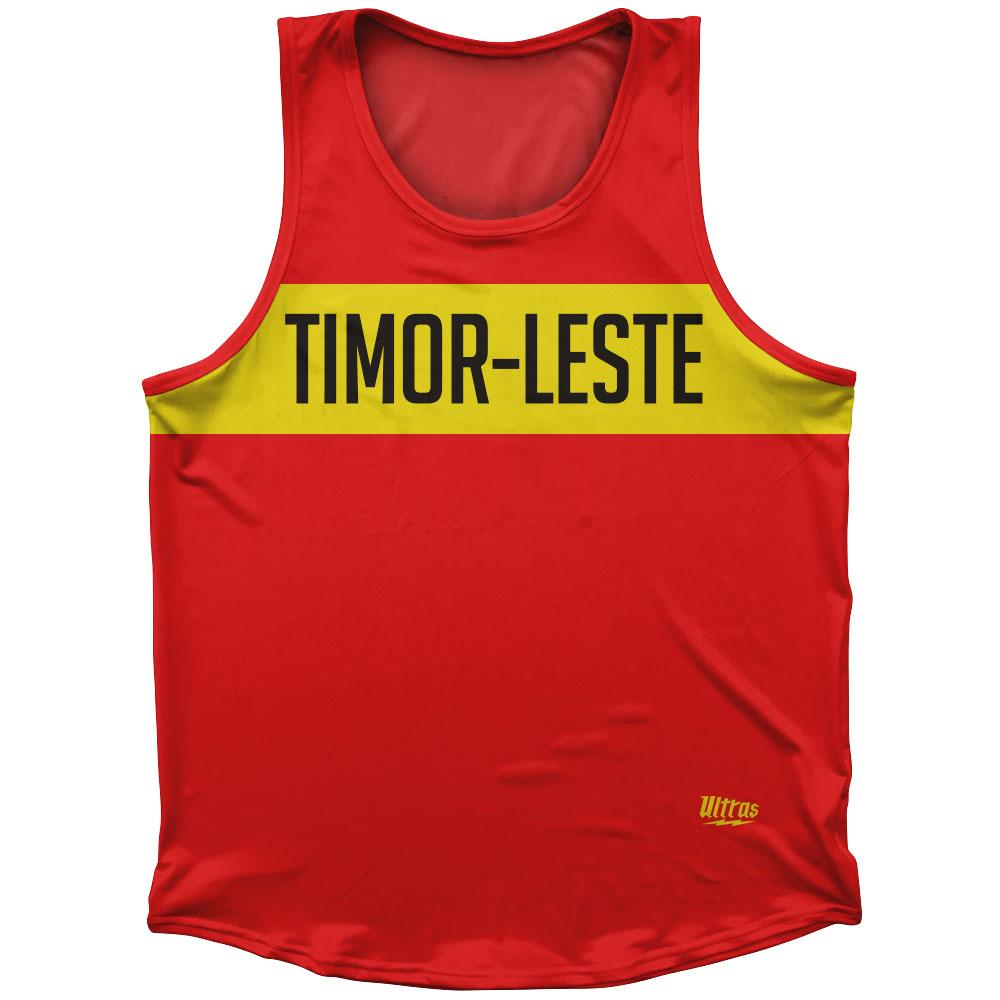 Timor-Leste Country Finish Line Athletic Sport Tank Top Made In USA by Ultras