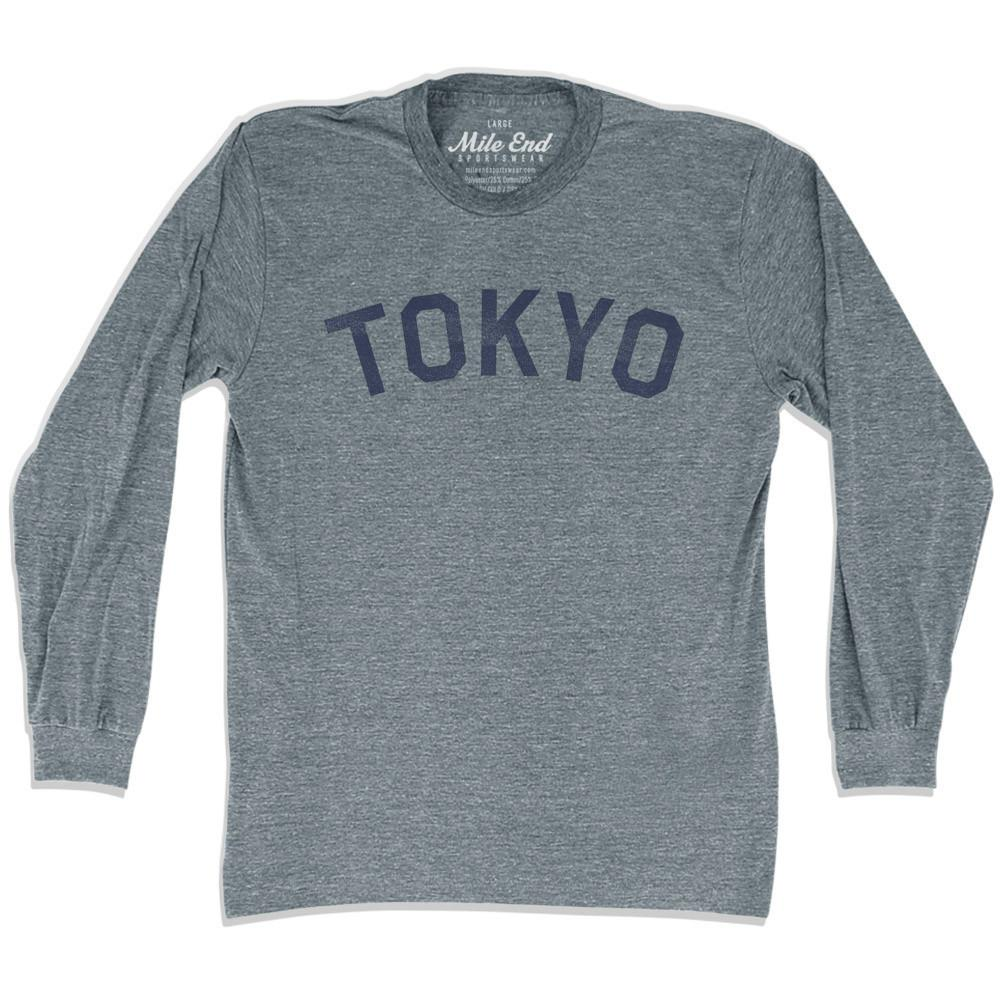 Tokyo City Vintage Long Sleeve T-Shirt in Athletic Grey by Mile End Sportswear
