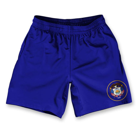 "Utah State Flag Athletic Running Fitness Exercise Shorts 7"" Inseam"