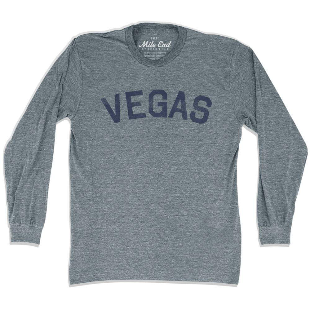 Vegas City Vintage Long Sleeve T-Shirt in Athletic Grey by Mile End Sportswear