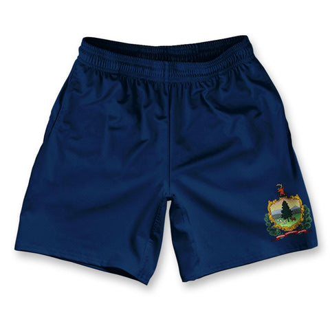 "Vermont State Flag Athletic Running Fitness Exercise Shorts 7"" Inseam"