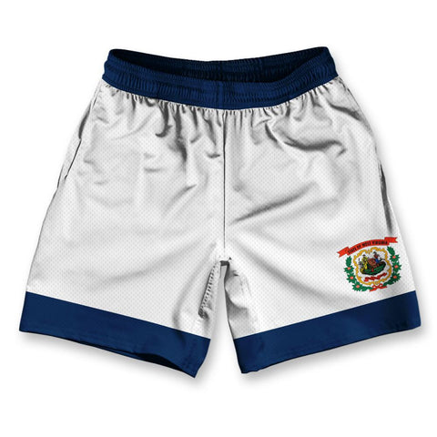 "West Virginia State Flag Athletic Running Fitness Exercise Shorts 7"" Inseam"