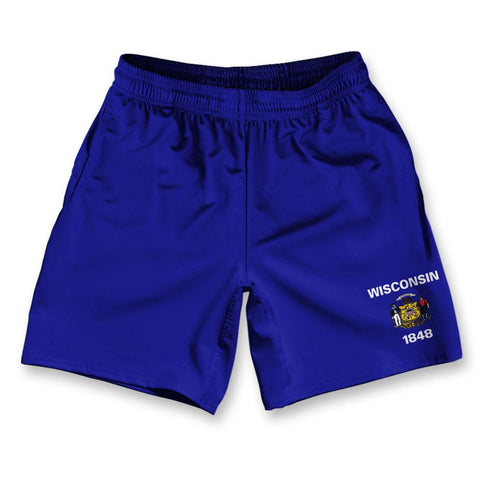 "Wisconsin State Flag Athletic Running Fitness Exercise Shorts 7"" Inseam"