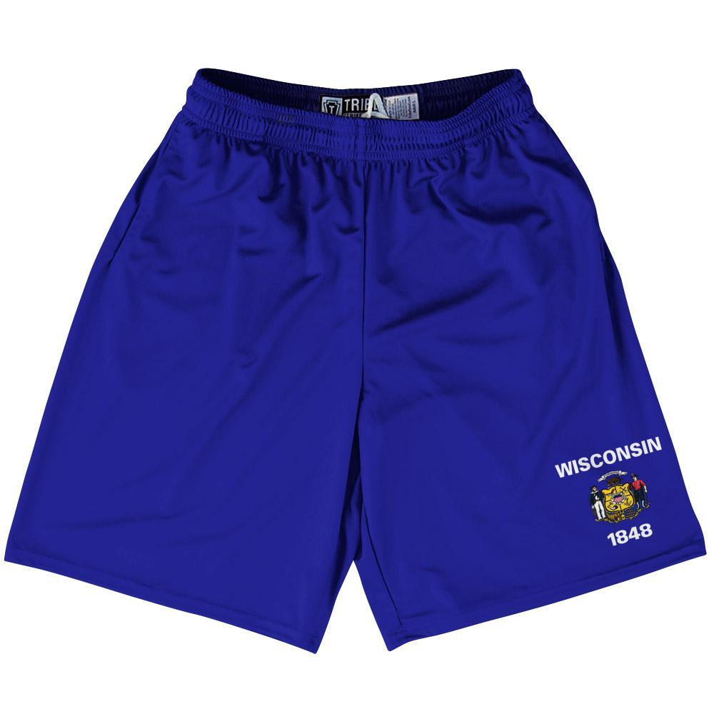 "Wisconsin State Flag 9"" Inseam Lacrosse Shorts by Tribe Lacrosse"