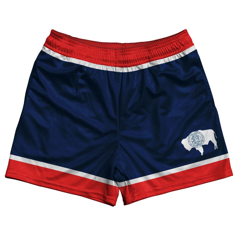 Wyoming State Flag Rugby Shorts Made In USA by Ruckus
