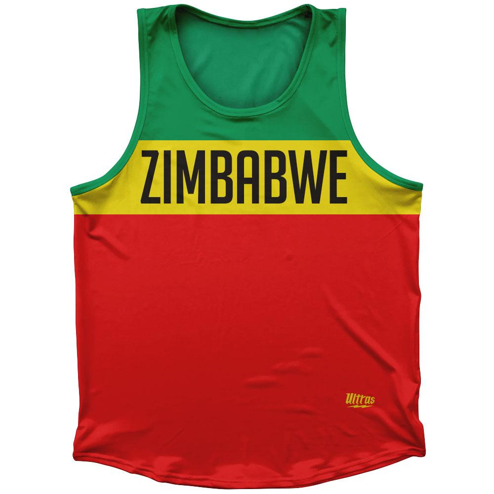 Zimbabwe Country Finish Line Athletic Sport Tank Top Made In USA by Ultras