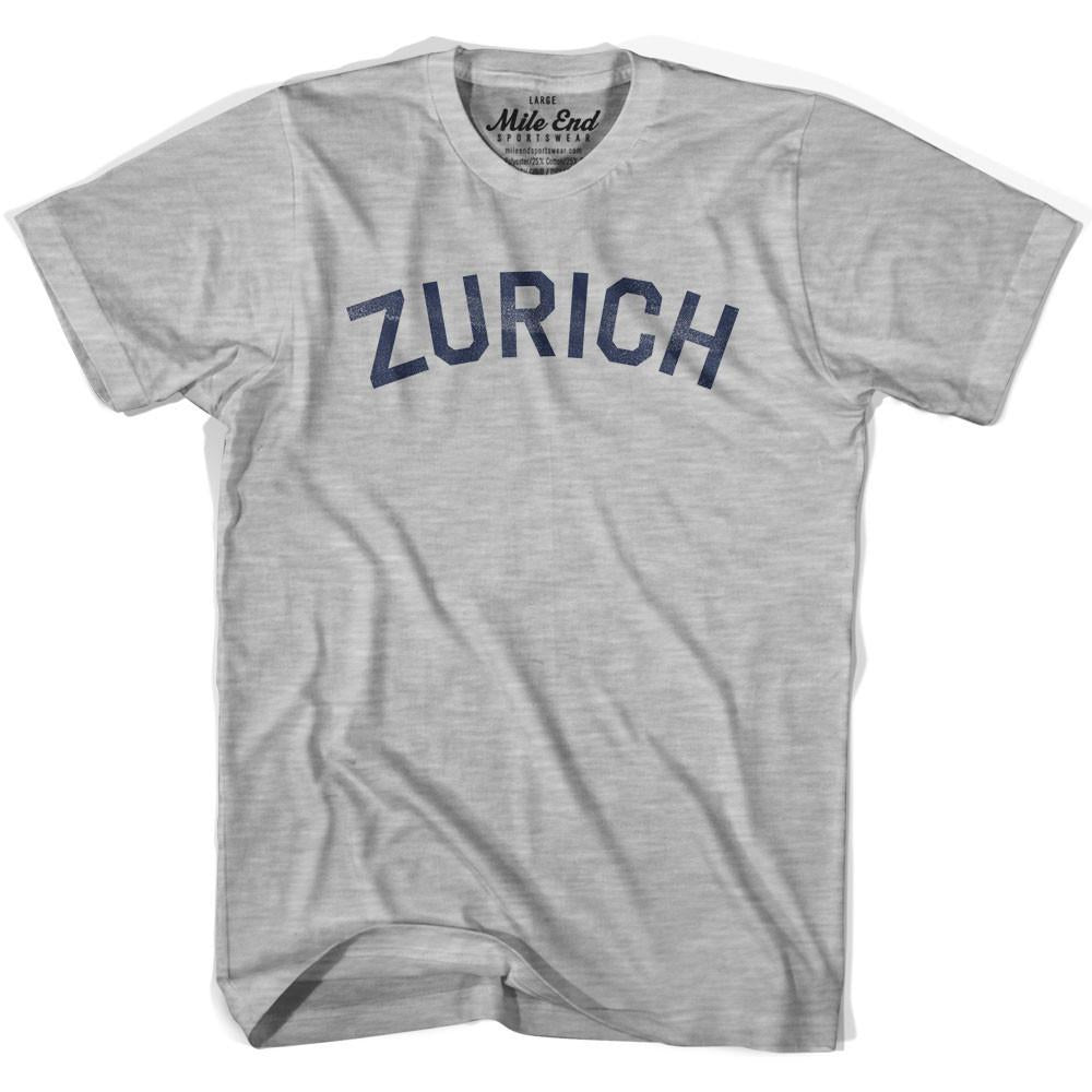 Zurich City Vintage T-shirt in Grey Heather by Mile End Sportswear