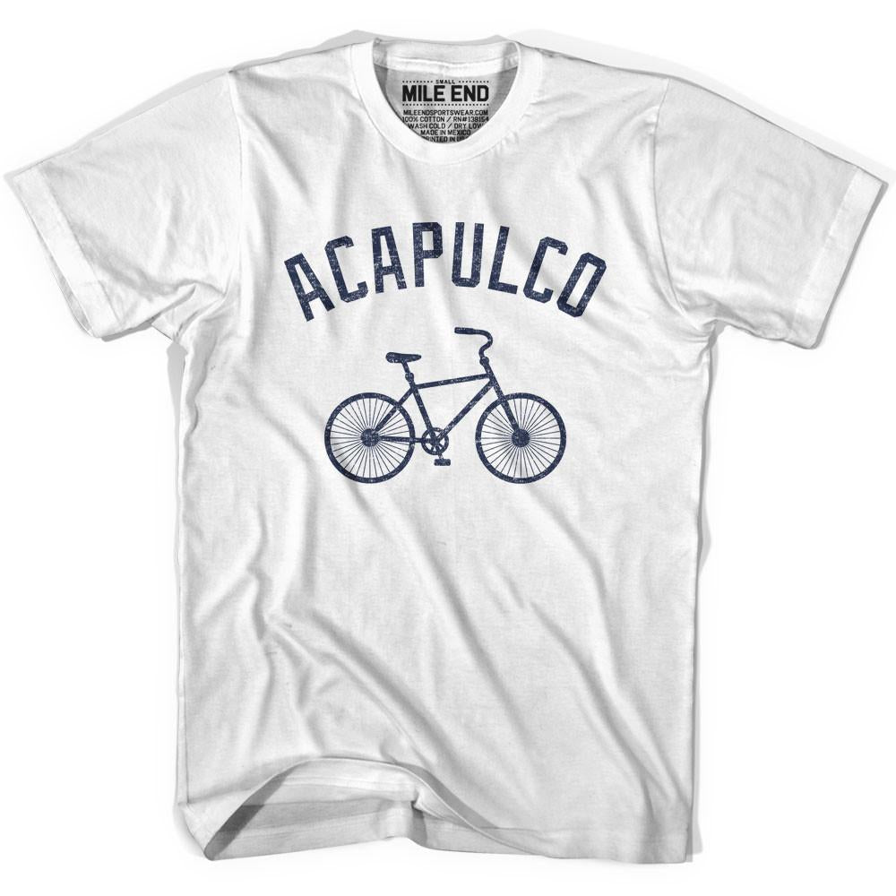 Acapulco Vintage Bike T-shirt in White by Mile End Sportswear