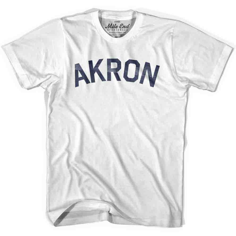 Akron City Vintage T-shirt in White by Mile End Sportswear
