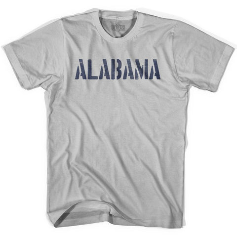 Alabama State Stencil Adult Cotton T-shirt