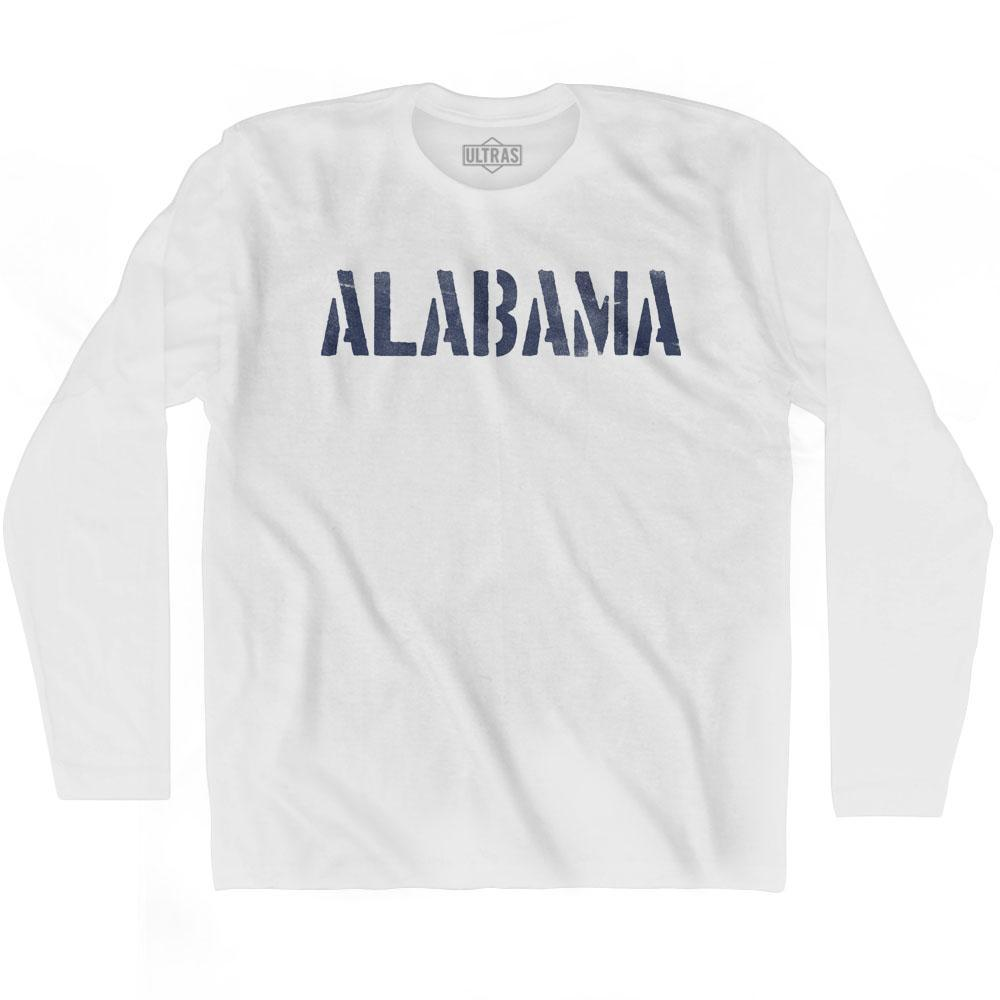 Alabama State Stencil Adult Cotton Long Sleeve T-shirt by Ultras