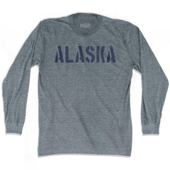 Alaska State Stencil Adult Tri-Blend Long Sleeve T-shirt by Ultras