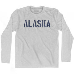 Alaska State Stencil Adult Cotton Long Sleeve T-shirt by Ultras