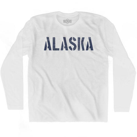 Alaska State Stencil Adult Cotton Long Sleeve T-shirt