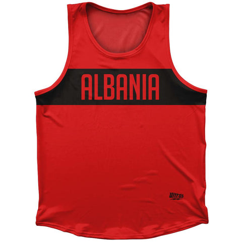 Albania Country Finish Line Athletic Sport Tank Top Made In USA